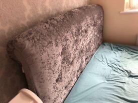 King size Bed - Crush Velvet Grey