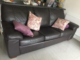 DFS Brown leather 3 seater sofa bed plus recliner