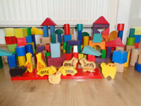 Wooden toy blocks - around 120