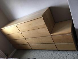 2 large sets of draws, 1 small set / bedside