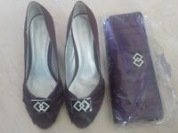 Worn Once - Beautiful Pair of Deep Purple Size 6 Shoes with matching Handbag - £10 for both Items