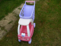 LITTLE TIKES DOLL'S SIT IN COUPE CAR WITH ATTACHED SHOPPING TROLLEY