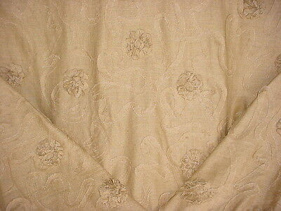 9+Y BEAUTIFUL KRAVET / LEE JOFA EMBROIDERED FLORAL RAW SILK UPHOLSTERY FABRIC