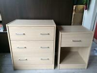 Set of chest of drawers with bedside table