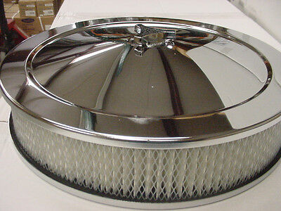 """14"""" Plain Chrome Air Cleaner kit 3"""" Filter breather SBC chevy Holley rat ford"""