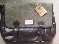 Harris Tweed Satchel Brown/Green H/B. Broken buckle