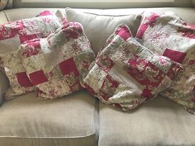 Beautiful shabby chic country floral cushions and throw/ bedspread Forever England