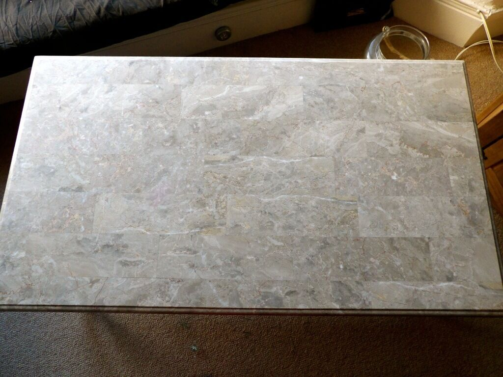 "Light Brown Marble Coffee Table 50 x 28 "" Pick up only Whitley Bay"