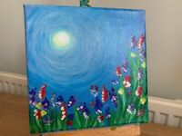 Spring flowers - original canvas acrylic painting (7.87inch x 7.87inch)