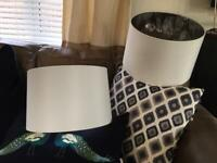 FREE !!!! Two large white NEXT shades lampshades either bedside or standard lamp