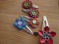 2 Pairs of handmade Hair slides & 1 Handmade Flower slide.