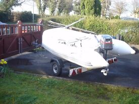 2.5mtr Zodiac Rib with 8hp Yamaha Outboard on nearly new trailer with lightboard. Good condition