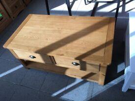 NEW. 2 Drawer oak and oak veneer coffee table