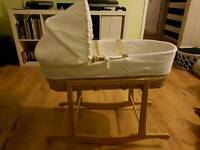 Clair de lune moses basket with rocking stand.
