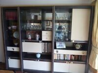 6 unit black and cream display cabinets
