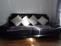 Black leather sofa and armchair - like new