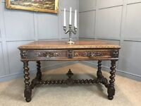 Antique Victorian Oak Table Serving Table Desk Sideboard Gothic Jacobean Style Hall Table - Delivery