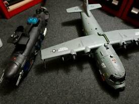 Large Toy Hercules Plane and Submarine