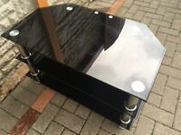 Black Glass Chrome 2Tier Tv Stand Fits Upto 46in