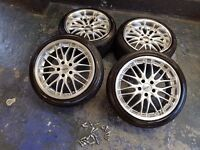 """18"""" alloy wheels deep dish Cruize 190 with tyres as NEW 5x112 fits VW,Mercedes,Audi ect."""