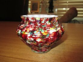 Antique Spatter Posy Mini Vase, Possibly Czech, Art Deco Vintage