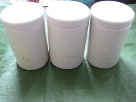 Cream Coloured Matching Brabantia Tea, Coffee and Sugar Kitchen Storage Containers for £8.00