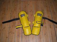 Shin pads for kick boxing.