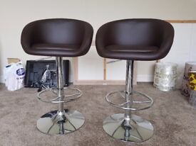 Brown and chrome bar stools