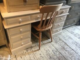 PARTNERS DESK PAINTED WHITE FRENCH FARMHOUSE STYLE SOLID PINE