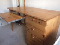 Pine desk and drawers
