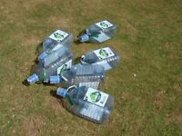 8litre refillable plastic water bottles with taps suitable for camping / caravanning etc