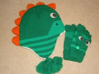Boys Dinosaur Trapper Hat and Gloves Set - BRAND NEW