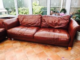 Red leather sofa - Bargain