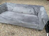 Modern ikea sofa with grey velvet cover