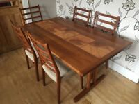 DANISH TEAK TILED DINNING TABLE WITH FIVE CHAIRS