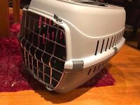 Small grey/cream pet carrier