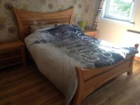 Solid Oak Bed King Size with matching side tables