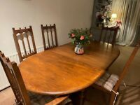 ERCOL Old Colonial Solid Elm & Beech Extending Dining Table w/ 5 Chairs