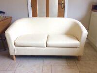 Cream Leather Effect Tub Sofa