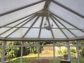 Conservatory Edwardian style white PVC double glazed approx 4.2 m width x 4.5m length