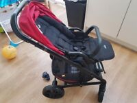 Joie Chrome Red Pushchair with Car Seat and Baby Pram