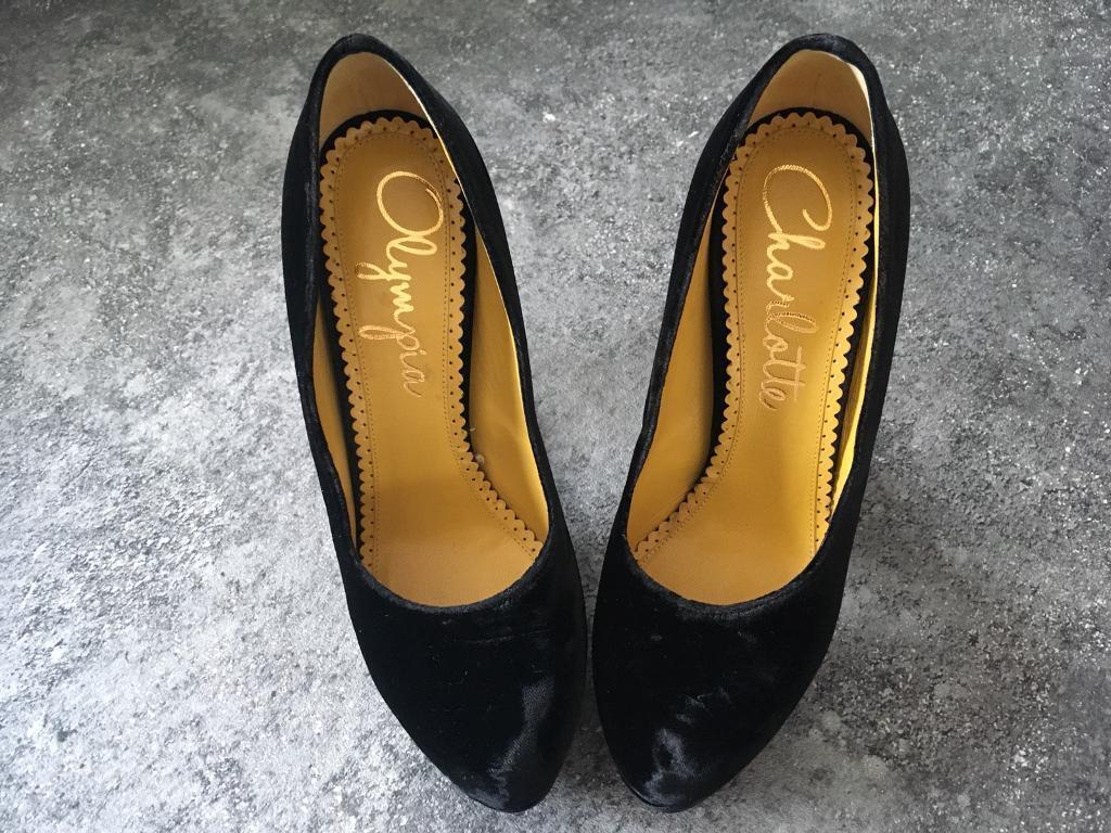 Charlotte Olympia black velvet, block-heeled shoes, size 36 (3)