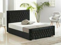 BRAND NEW FURNITURE-Double Size Plush Velvet Heaven Bed in grey color-- Frame W Optional Mattress♨