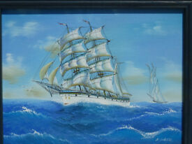 Stunning Framed Painting Old Sailing Ship Signed Art Boat Clipper Nautical Maritime Picture Boat