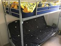 Metal futon bunk bed - sleeps 3 - double