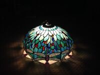 Tiffany ceiling light with dragonfly design.