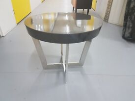 Chrome and Wood Oval Side table