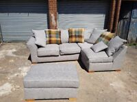 Stlish BRAND NEW light grey fabric corner sofa and footstool,new and packed ,any side,can deliver