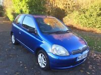 YARIS 1.0 COLOUR COLLECTION 03 REG IN BLUE METALIC AND MOT NOV 2017. PETER JAMES CARS 07867955762