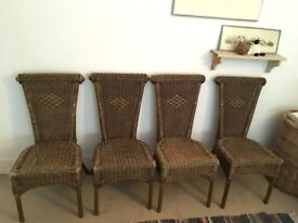 4 Stackable Rattan Dining Chairs